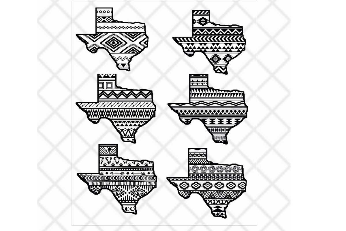 Texas State Svg Clipart Vector Aztec Pattern State Design