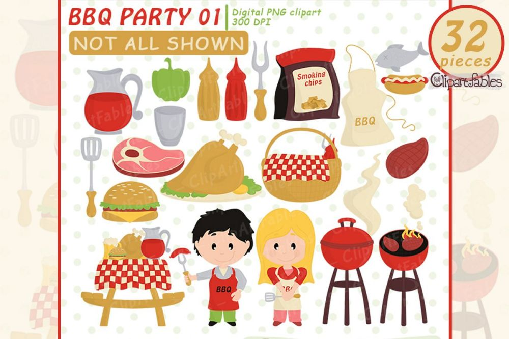 medium resolution of cute bbq party barbeque clipart picnic grill instant example image 1