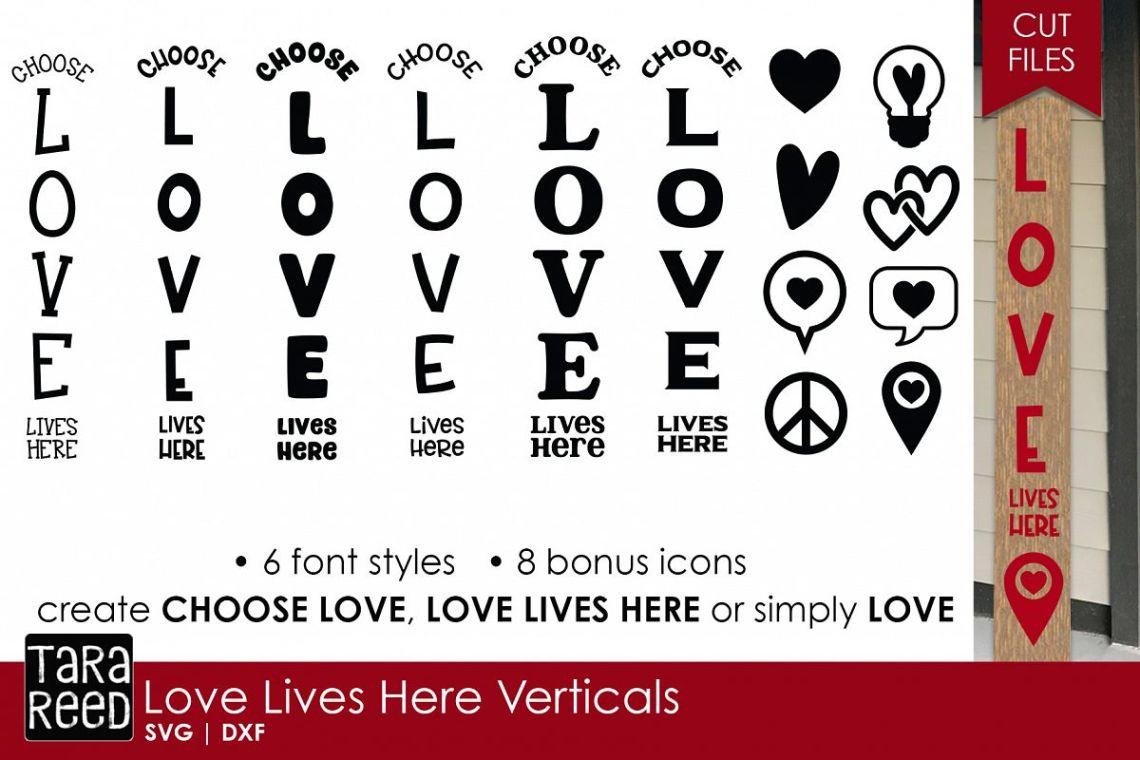 Download Love Lives Here Vertical Sign Bundle - Sign SVG & Cut Files