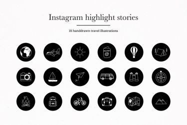 instagram icons highlights story covers travel designer follow
