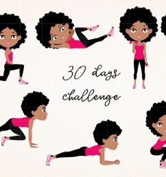 afro girl fitness workout cute girl 30 days challenge clipart clip art illustration workout [ 1200 x 800 Pixel ]