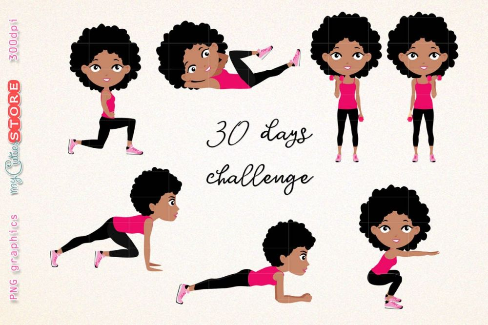 medium resolution of afro girl fitness workout cute girl 30 days challenge clipart clip art illustration workout