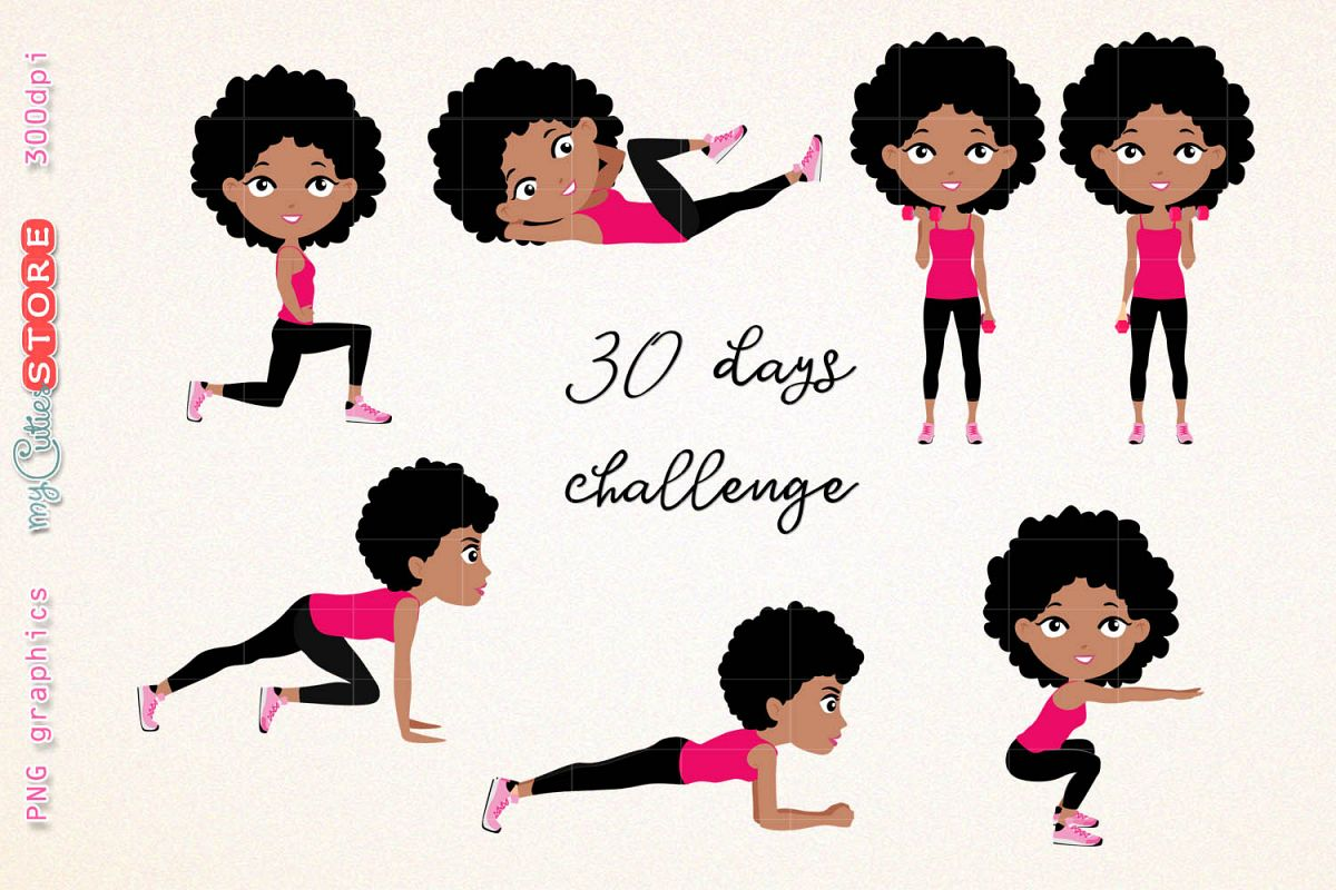hight resolution of afro girl fitness workout cute girl 30 days challenge clipart clip art illustration workout