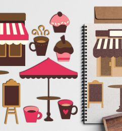pink brown cafe coffee shop design graphic illustration example image 1 [ 1200 x 800 Pixel ]