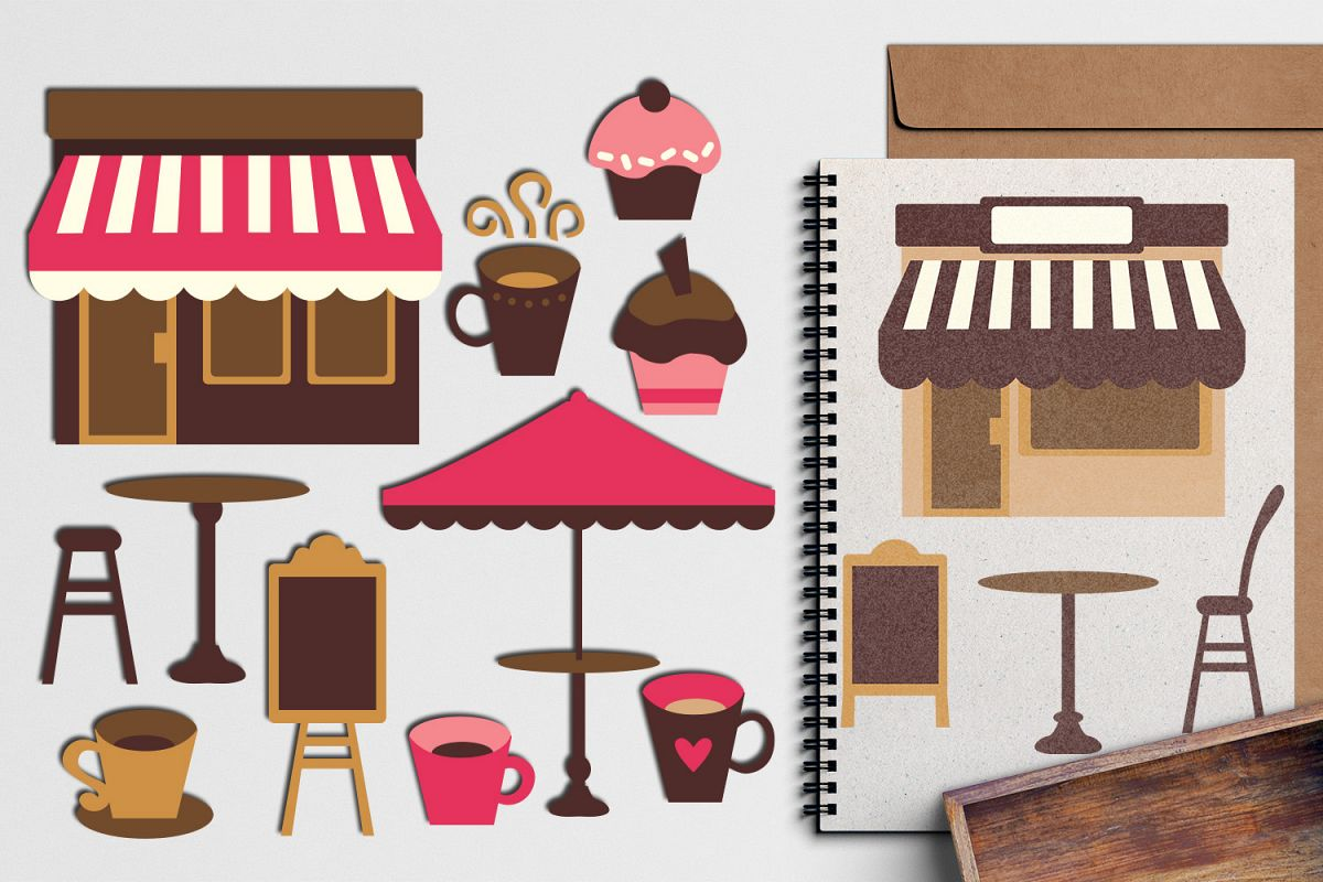 hight resolution of pink brown cafe coffee shop design graphic illustration example image 1