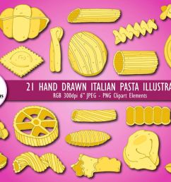 hand drawn italian pasta shapes illustrated food clipart example image 1 [ 1200 x 800 Pixel ]