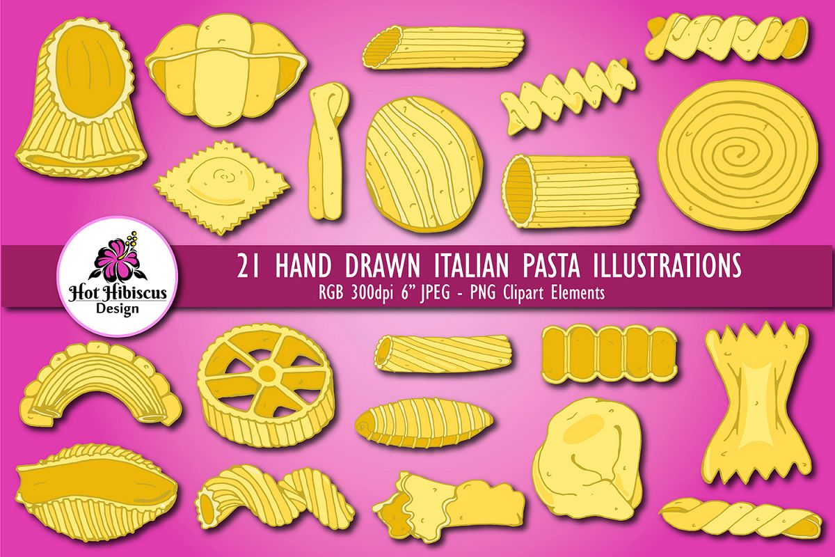 hight resolution of hand drawn italian pasta shapes illustrated food clipart example image 1