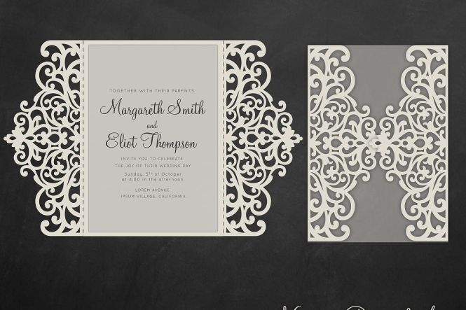 Gate Fold Wedding Invitation 5x7 Cricut Template Quinceanera Card Svg Dxf Silhouette Cameo
