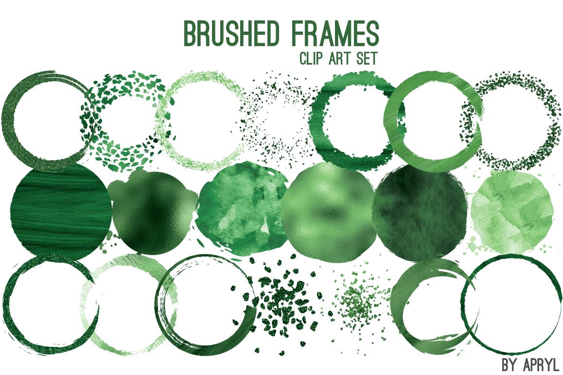 Green Brush Stroke Round Frames