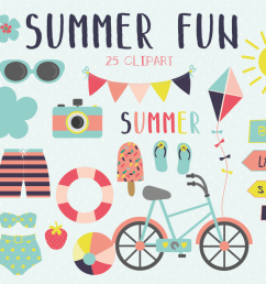 summer fun clipart and paper set example image 1 [ 1200 x 800 Pixel ]
