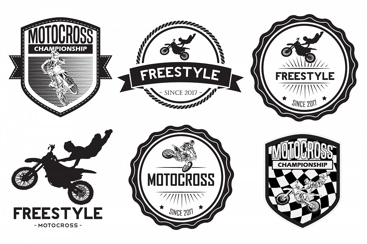 set of motocross badge