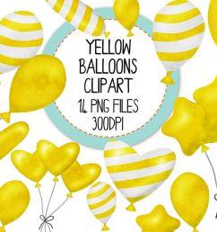 yellow watercolor balloon clipart set example image 1 [ 1200 x 800 Pixel ]