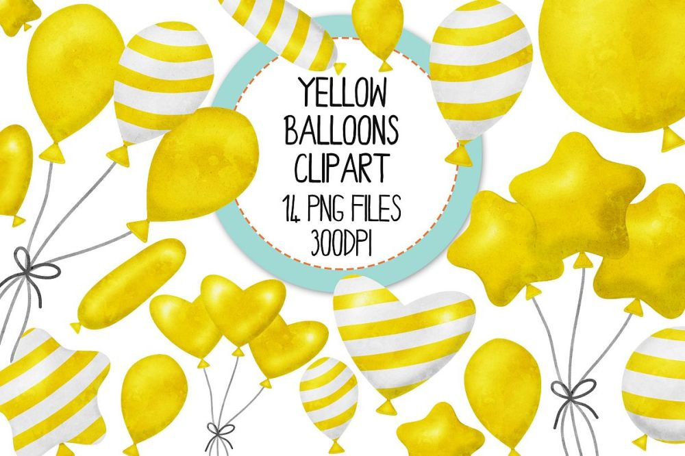 medium resolution of yellow watercolor balloon clipart set example image 1