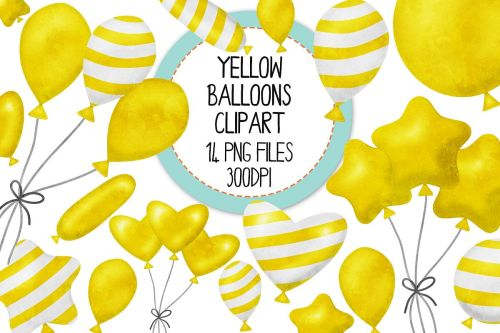 small resolution of yellow watercolor balloon clipart set example image 1