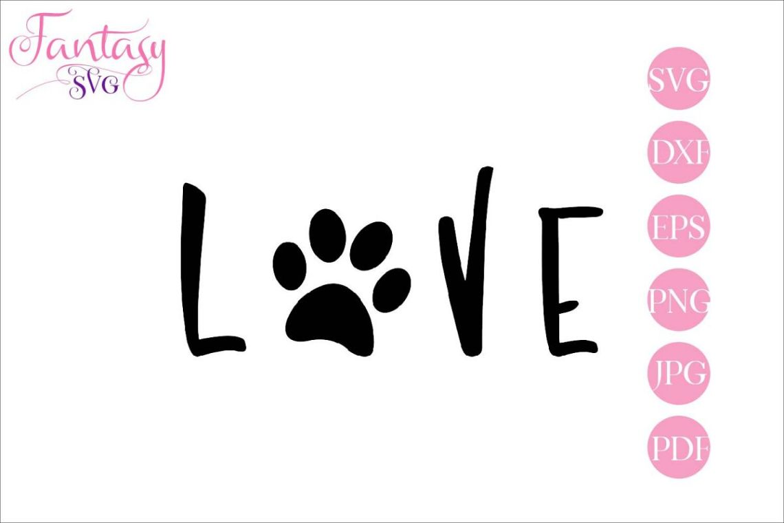 Download Love with paw print svg cut file for silhouette and cricut