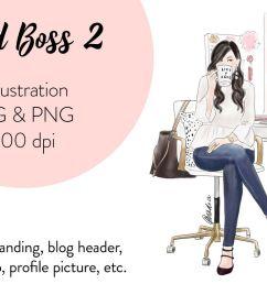 fashion illustration clipart girl boss 2 example image 1 [ 1200 x 800 Pixel ]