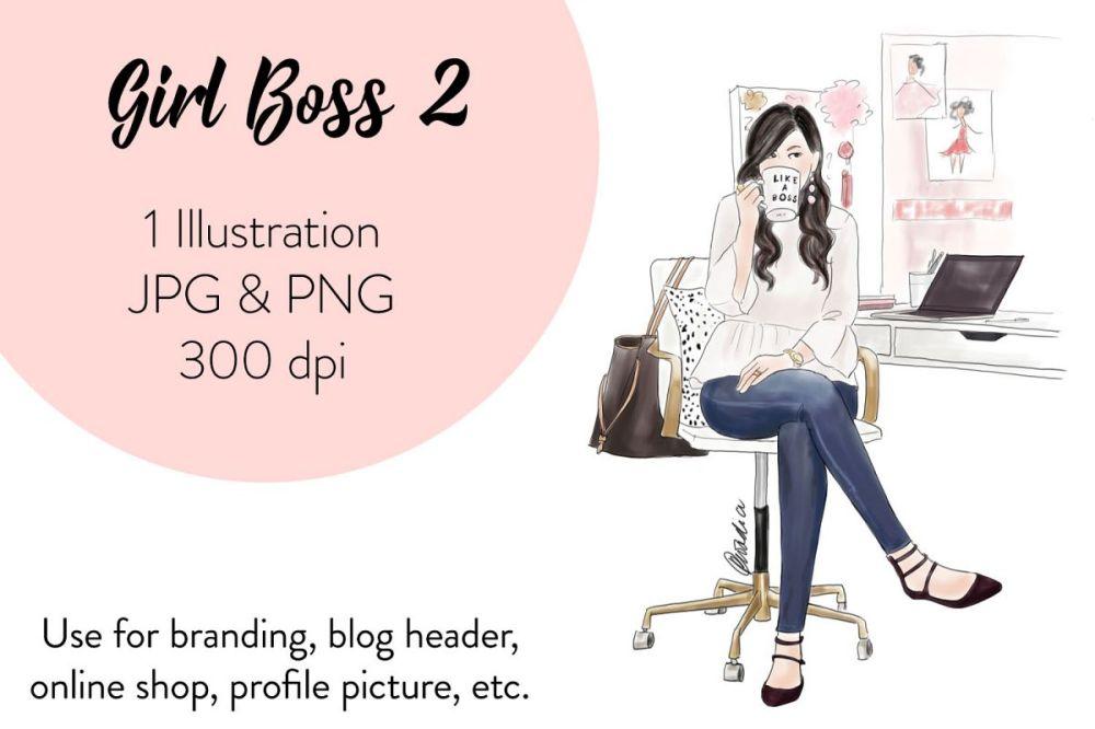 medium resolution of fashion illustration clipart girl boss 2 example image 1