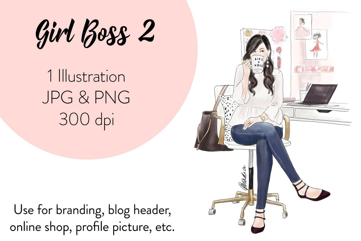 hight resolution of fashion illustration clipart girl boss 2 example image 1