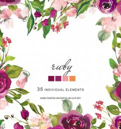 watercolor deep purple blush flowers clipart example image 1 [ 1200 x 800 Pixel ]