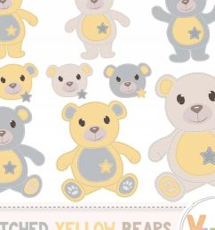 yellow teddy bear clip art stitched teddy bear yellow teddy bears neutral baby [ 1200 x 800 Pixel ]