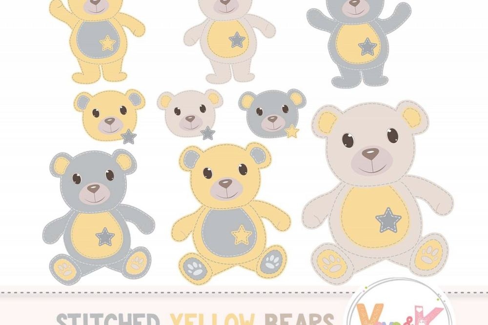 medium resolution of yellow teddy bear clip art stitched teddy bear yellow teddy bears neutral baby