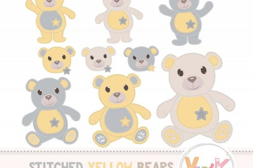 small resolution of yellow teddy bear clip art stitched teddy bear yellow teddy bears neutral baby