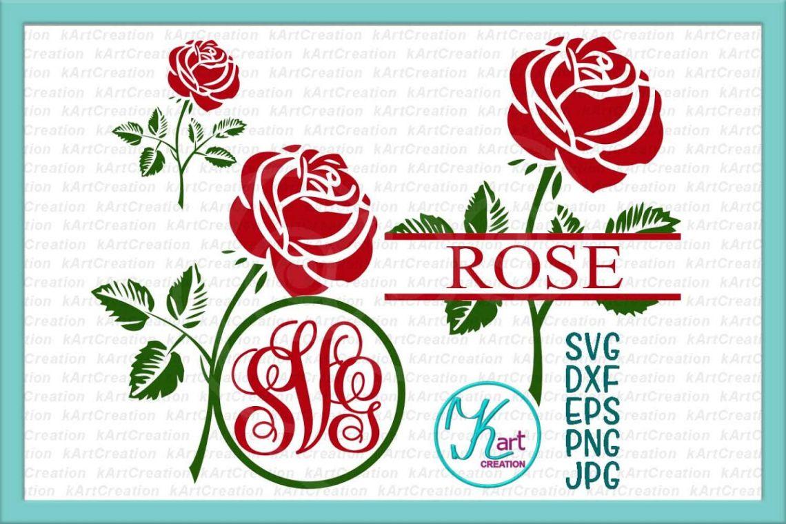 Download Flower rose split circle monogram for name svg dxf png files