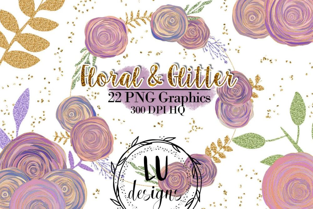 medium resolution of floral and glitter clipart purple flowers graphics example image 1