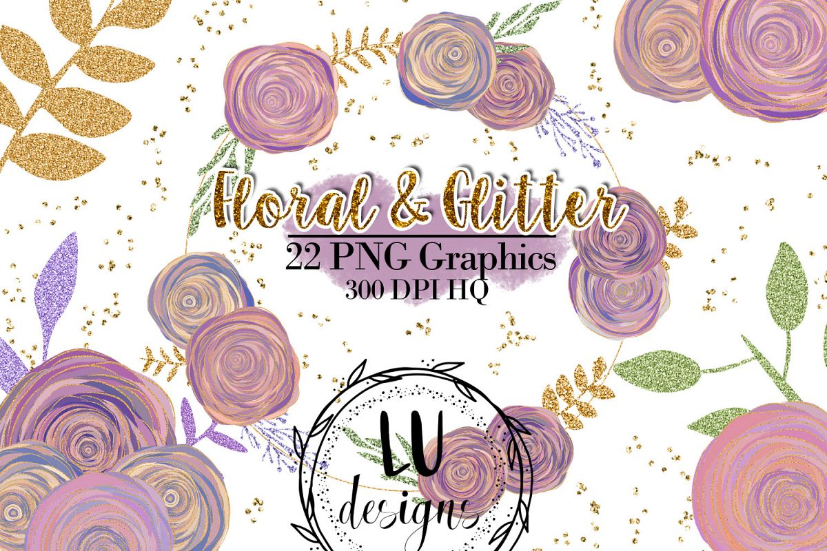 hight resolution of floral and glitter clipart purple flowers graphics example image 1
