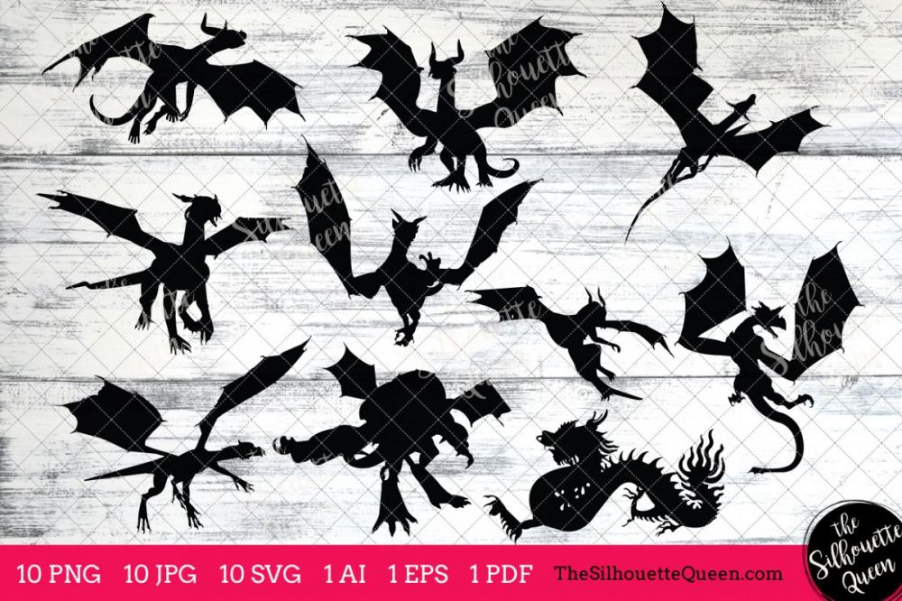 medium resolution of dragon silhouettes clipart clip art ai eps svgs jpgs pngs