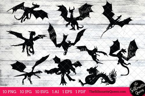 small resolution of dragon silhouettes clipart clip art ai eps svgs jpgs pngs