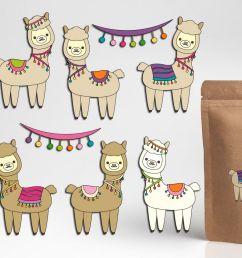 pretty llama clipart graphics cute alpaca illustrations example image 1 [ 1200 x 800 Pixel ]