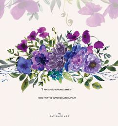 watercolor bright purple floral clipart one arrangement example image 1 [ 1200 x 800 Pixel ]