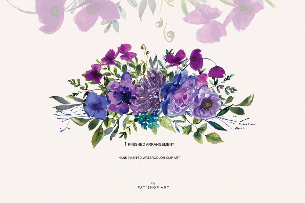 medium resolution of watercolor bright purple floral clipart one arrangement example image 1