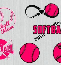 softball svg bundle softball clipart softball cut files for cricut and silhouette printable [ 1200 x 800 Pixel ]