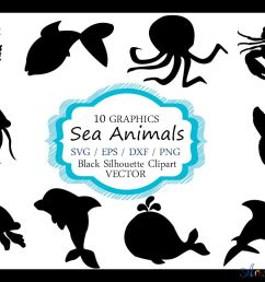 sea animals silhouette vector sea animal sea animal svg file eps vector  [ 1158 x 772 Pixel ]
