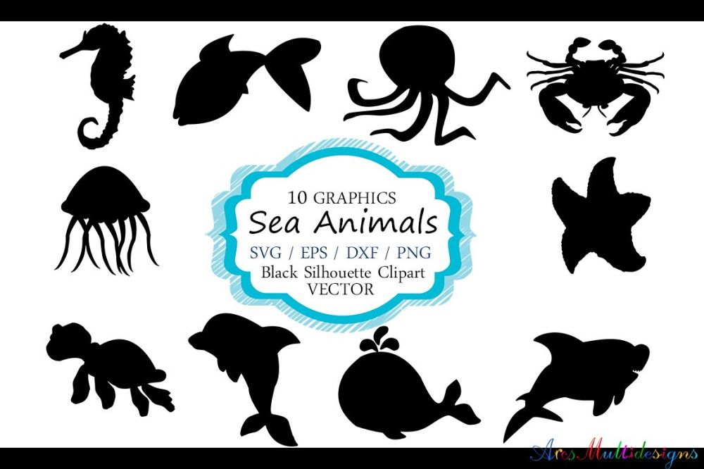 medium resolution of sea animals silhouette vector sea animal sea animal svg file eps vector