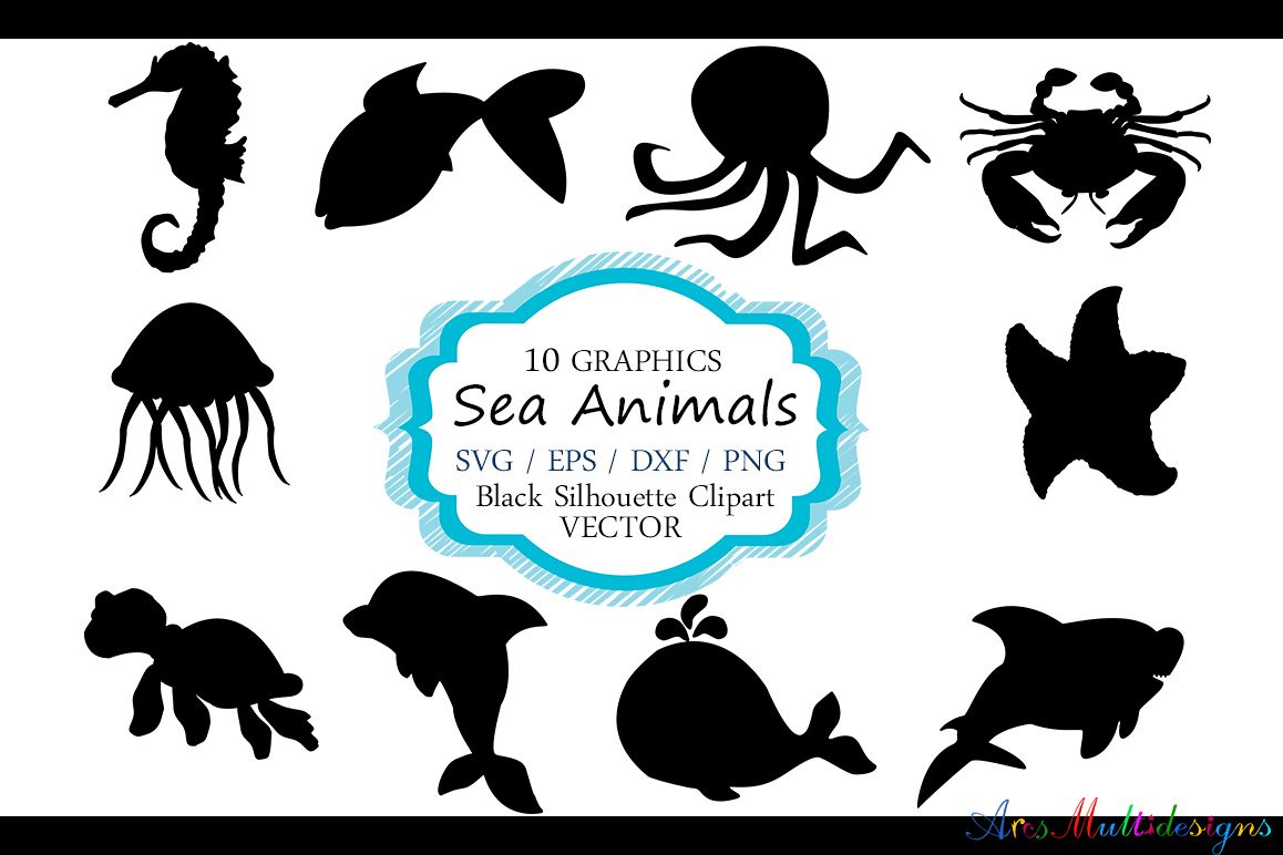 hight resolution of sea animals silhouette vector sea animal sea animal svg file eps vector