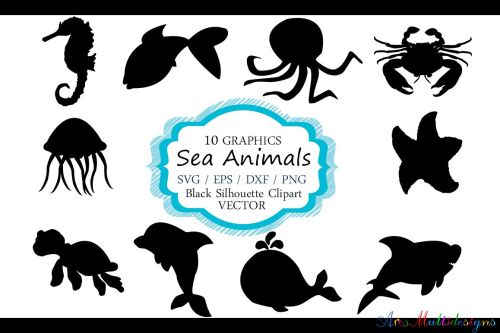 small resolution of sea animals silhouette vector sea animal sea animal svg file eps vector