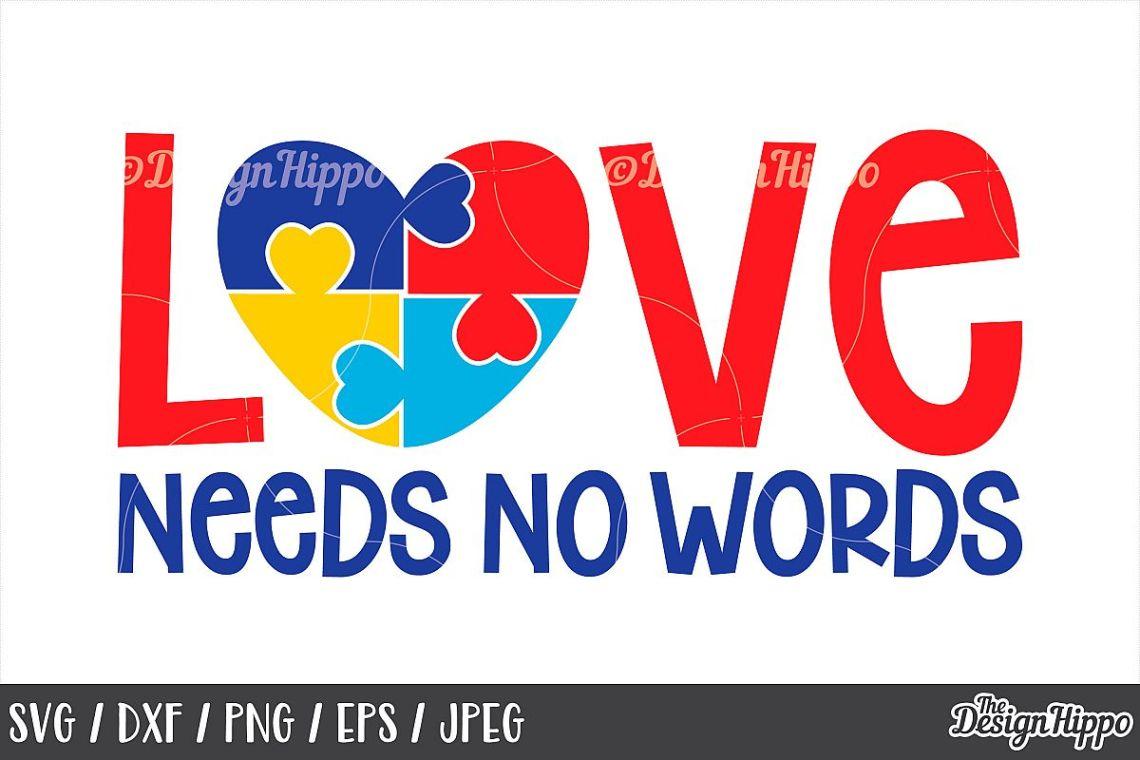 Download Autism Awareness, Love Needs No Words, Puzzle Piece, SVG DXF