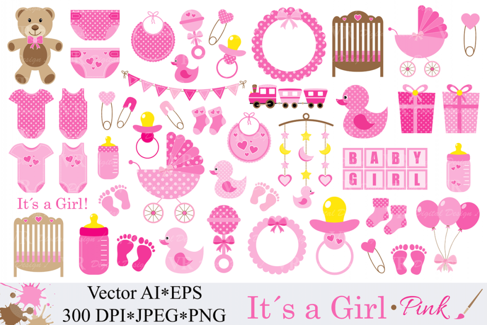 medium resolution of baby girl clipart pink baby shower clipart nursery clip art it s a
