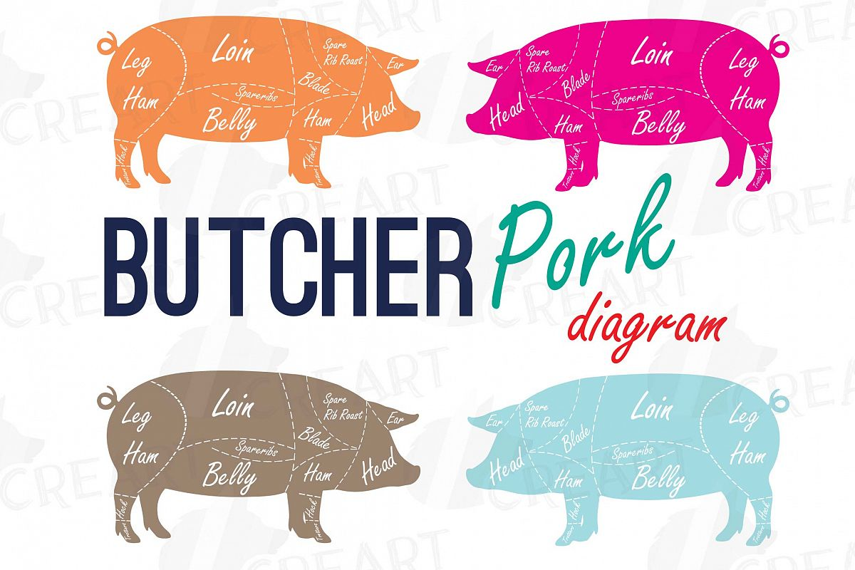 hight resolution of butcher diagram clip art digital pig chart pork cuts diagr example image 1