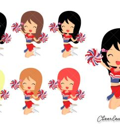 cheerleader girl clipart cute girls clip art set for planner stickers cards tshirts [ 1200 x 800 Pixel ]