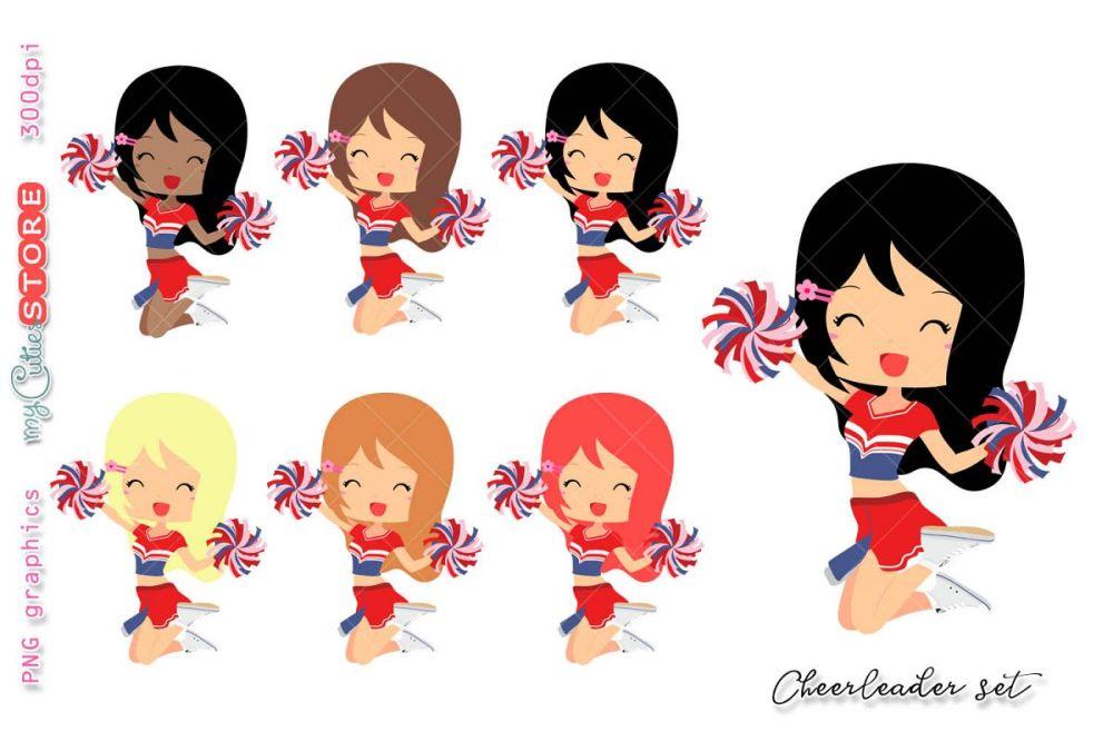 medium resolution of cheerleader girl clipart cute girls clip art set for planner stickers cards tshirts