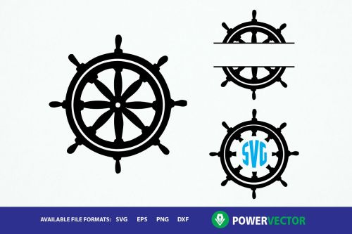 small resolution of ship wheel clipart monogram frames svg dxf eps cut files example image 1