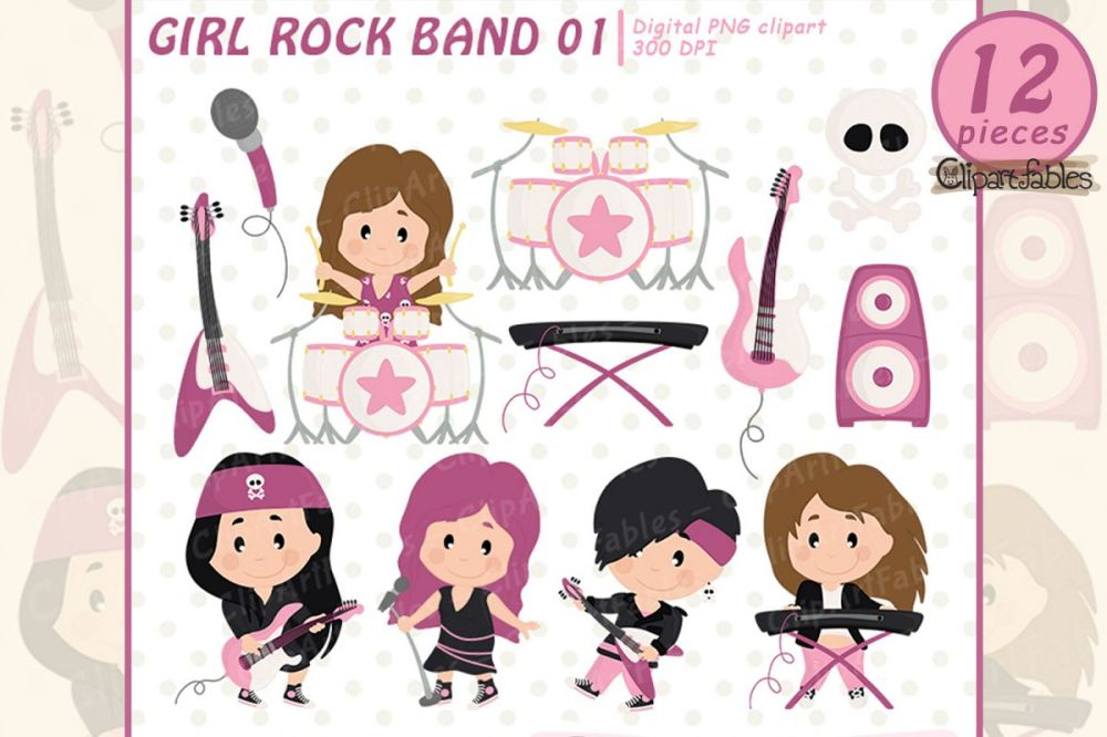 medium resolution of girl rock star clipart music clip art instant download example image 1