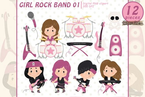small resolution of girl rock star clipart music clip art instant download example image 1