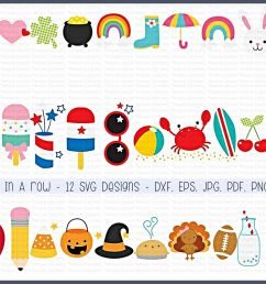 three in a row svg clipart printables 12 designs example image 1 [ 1200 x 800 Pixel ]