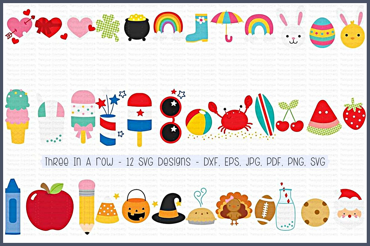 hight resolution of three in a row svg clipart printables 12 designs example image 1