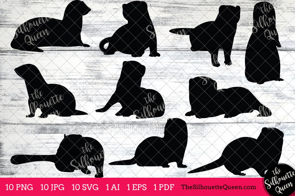 hight resolution of ferret silhouettes clipart clip art ai eps svgs jpgs pngs